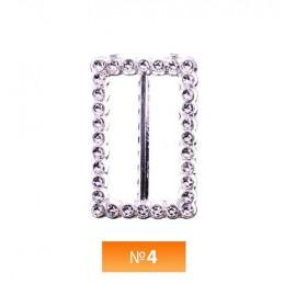 Пряжка пластиовая №4 никель 3 см (100 штук)