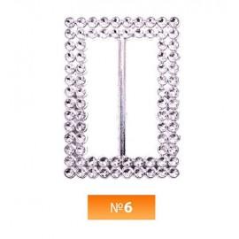 Пряжка пластиовая №6 никель 3.5 см (100 штук)