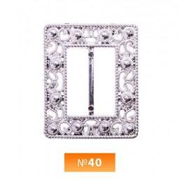 Пряжка пластиовая №40 никель 2.5 см (100 штук)