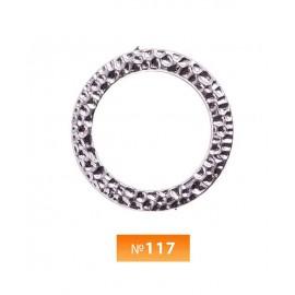 Кольцо пластиковое №117 никель 3.5 см (250 штук)