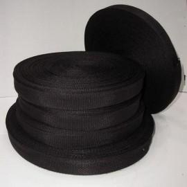 Тесьма ременная 2,5см черная (100 метров)