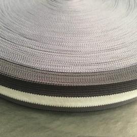 Тесьма окантовочная (лямовка) 30мм серый белый серый (100 метров)