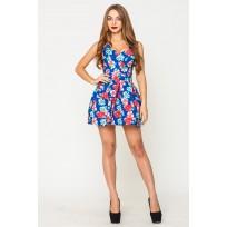 Платье женское Грация цветы голубой-красный PG004 (Штука)