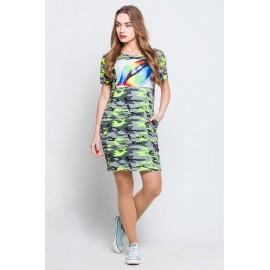 Платье-туника Монро камуфляж салат губы TM114 (Штука)