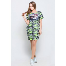 Платье-туника Монро камуфляж салат собачки TM115 (Штука)