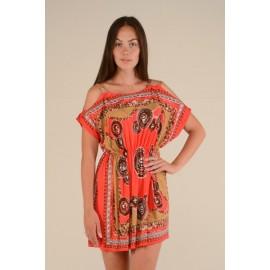 Платье женское Цепи цветное, красное PT133 (Штука)