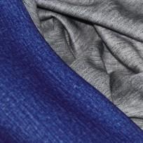 Ткань трикотаж дайвинг меланж двухсторонний электрик-серый (метр )