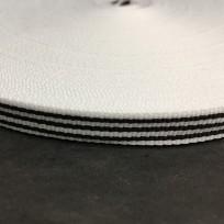 Тесьма репсовая тж 10мм белая 3п черных (50 метров)