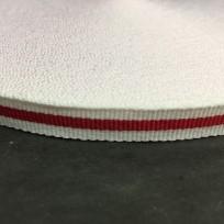 Тесьма репсовая тж 10мм белый 1п красная (50 метров)