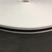 Тесьма репсовая тж 10мм белая 1п черная (50 метров)