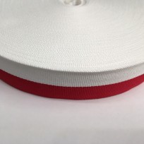 Тесьма репсовая тж 30мм бело красная (50 метров)