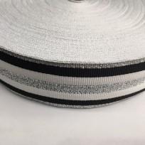 Тесьма репсовая тж 40мм белый 2п черные 3п серебро (50 метров)