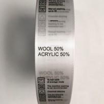 Этикетка состава атласная 25мм (процентовака) wool 50% acrylic 50% белая (100 метров)